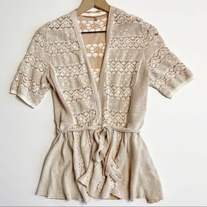 Knitted & Knotted Lace Stitch Cream Cardigan Small
